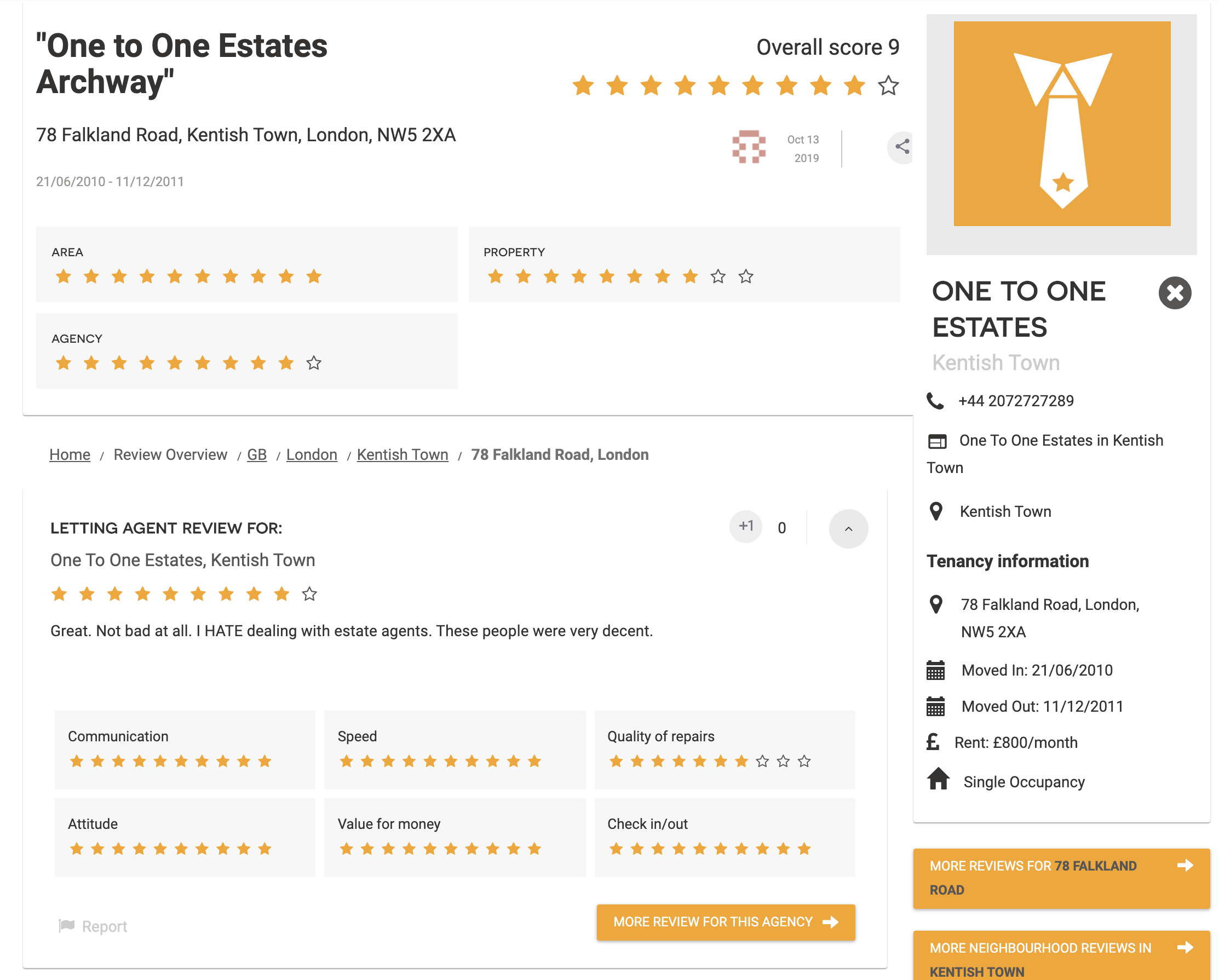 Screenshot of review for One To One estates Kentish Town, London