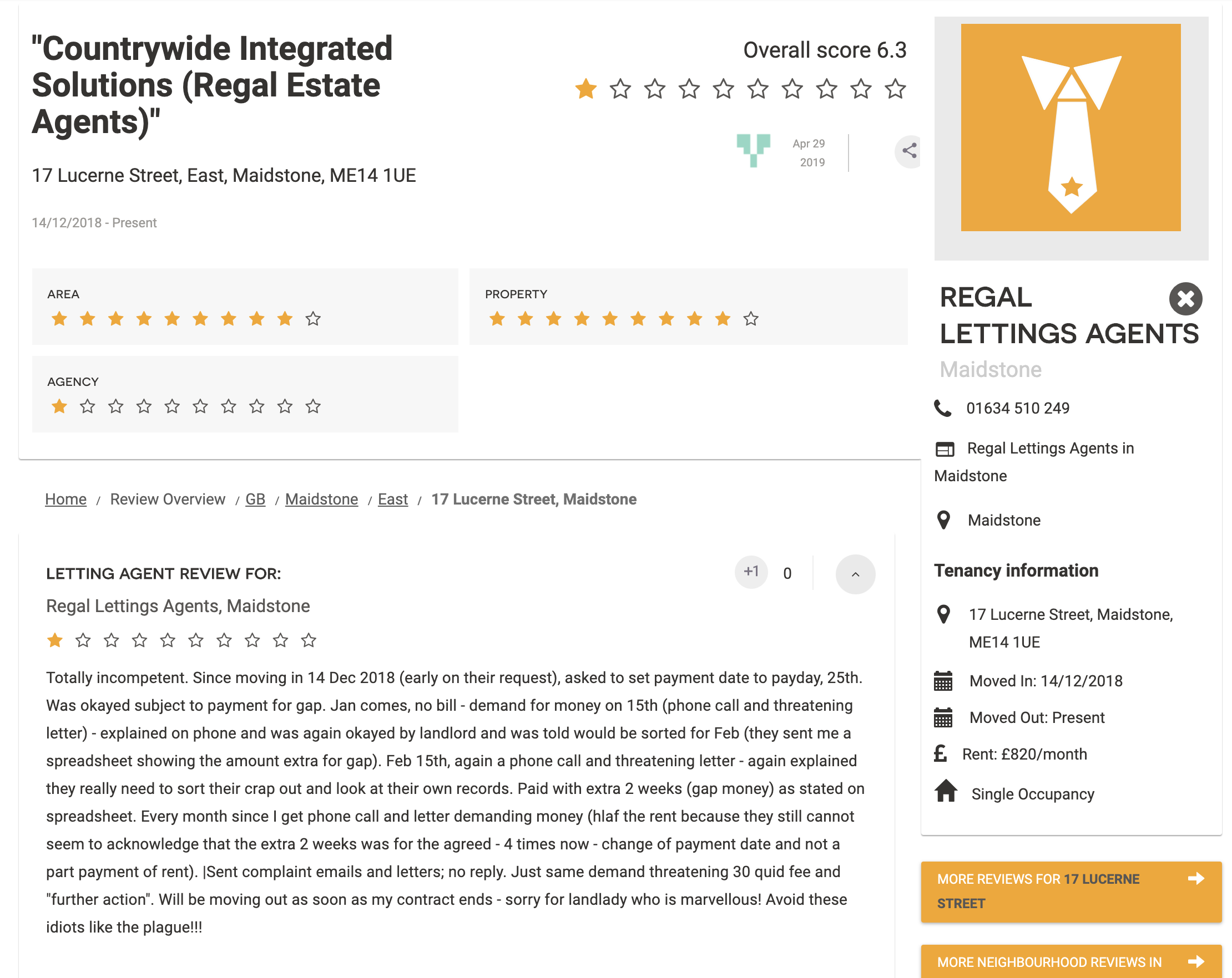 Screenshot of review for Regal Lettings Agents in Maidstone